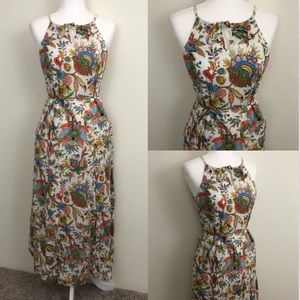 Tommy Hilfiger Maxi Dress White Floral Keyhole GUC